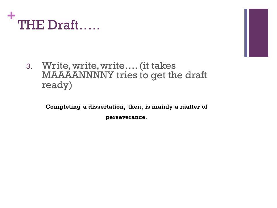+ THE Draft….. 3. Write, write, write….