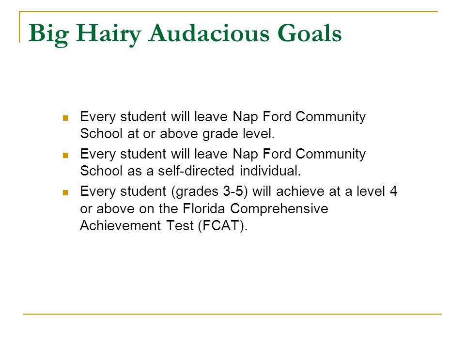 Big Hairy Audacious Goals Every student will leave Nap Ford Community School at or above grade level.