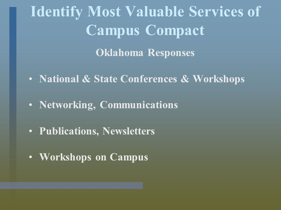 Identify Most Valuable Services of Campus Compact Oklahoma Responses National & State Conferences & Workshops Networking, Communications Publications, Newsletters Workshops on Campus