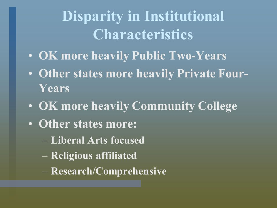 Disparity in Institutional Characteristics OK more heavily Public Two-Years Other states more heavily Private Four- Years OK more heavily Community College Other states more: –Liberal Arts focused –Religious affiliated –Research/Comprehensive