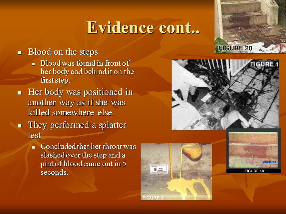 Physical evidence continued… Trail of bloody shoe prints Trail of bloody shoe prints. William Bodziak, testified that the murder scene shoe prints wer