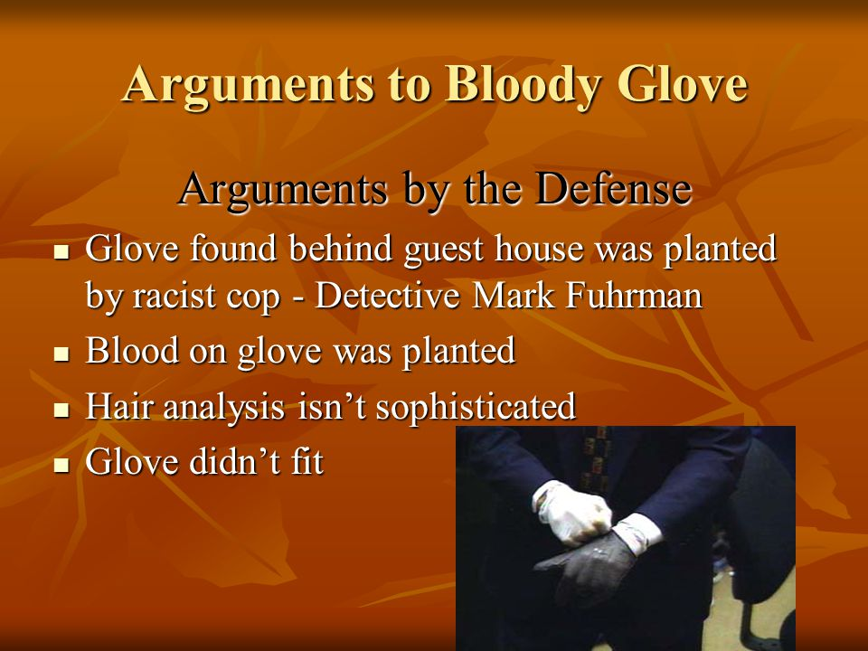Evidence Submitted to Court: Bloody Gloves One dark, cashmere-lined Aris Light leather glove, size extra large, was found at the murder scene One dark