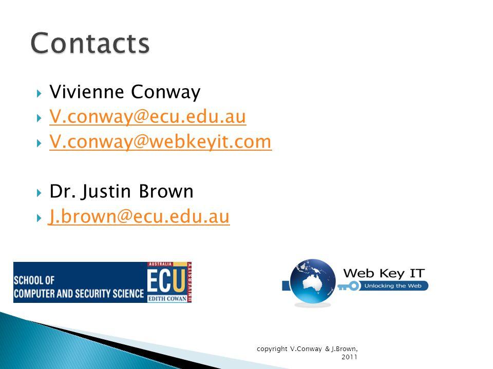  Vivienne Conway  V.conway@ecu.edu.au V.conway@ecu.edu.au  V.conway@webkeyit.com V.conway@webkeyit.com  Dr.