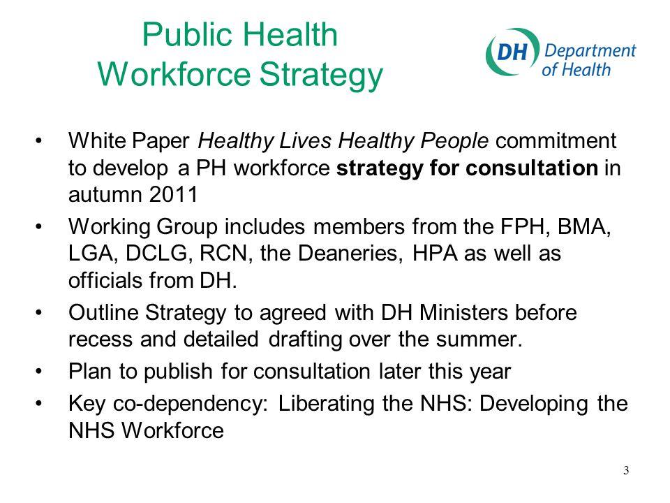 3 Public Health Workforce Strategy White Paper Healthy Lives Healthy People commitment to develop a PH workforce strategy for consultation in autumn 2