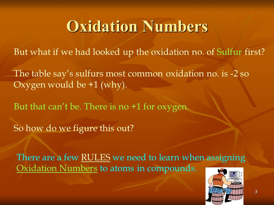 2 Oxidation Numbers We've talked about oxidation nos. before. What is the Definition of an atoms oxidation number? The number of electrons an atom ten