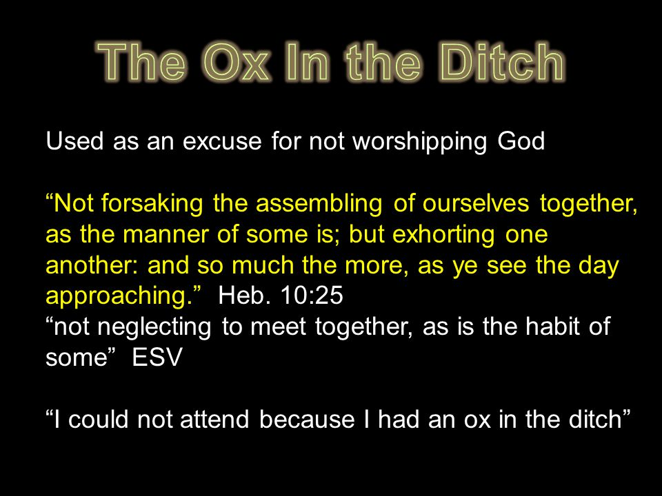 Used as an excuse for not worshipping God Not forsaking the assembling of ourselves together, as the manner of some is; but exhorting one another: and so much the more, as ye see the day approaching. Heb.