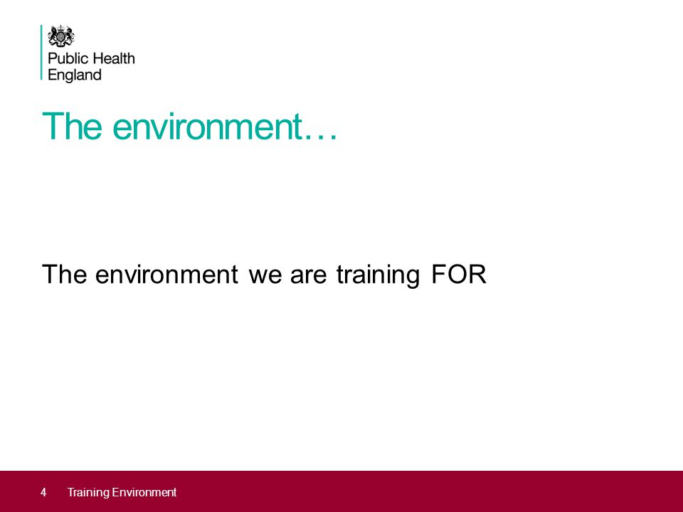 The environment… The environment we are training FOR 4Training Environment