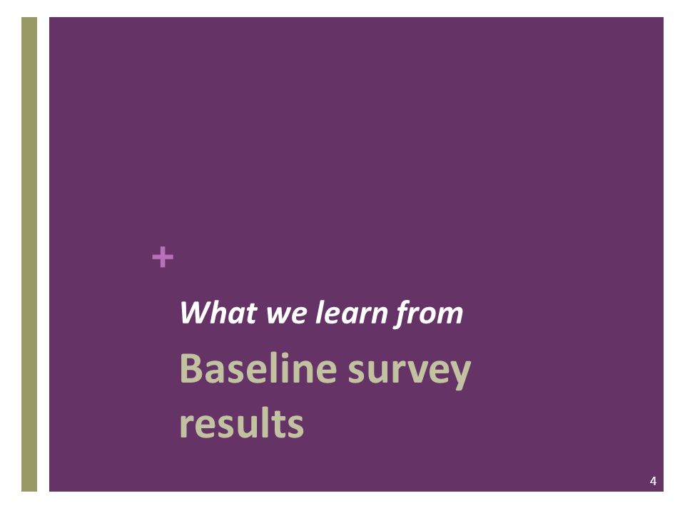 + What we learn from Baseline survey results 4