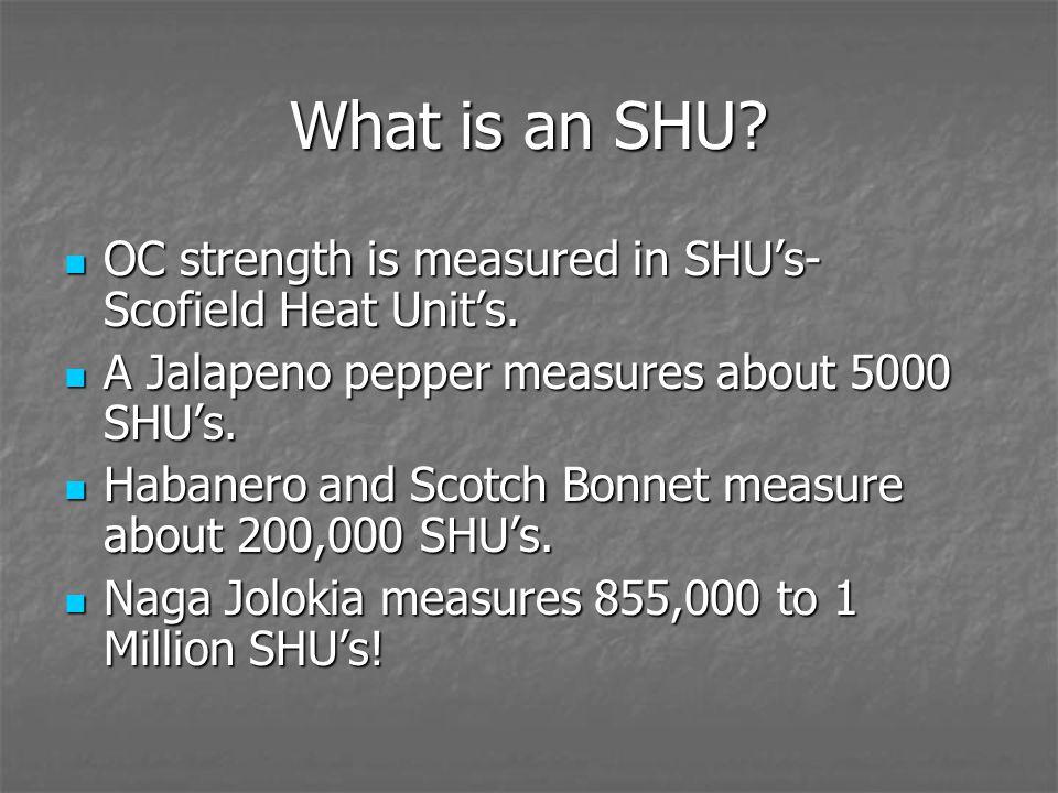 What is an SHU? OC strength is measured in SHU's- Scofield Heat Unit's. OC strength is measured in SHU's- Scofield Heat Unit's. A Jalapeno pepper meas