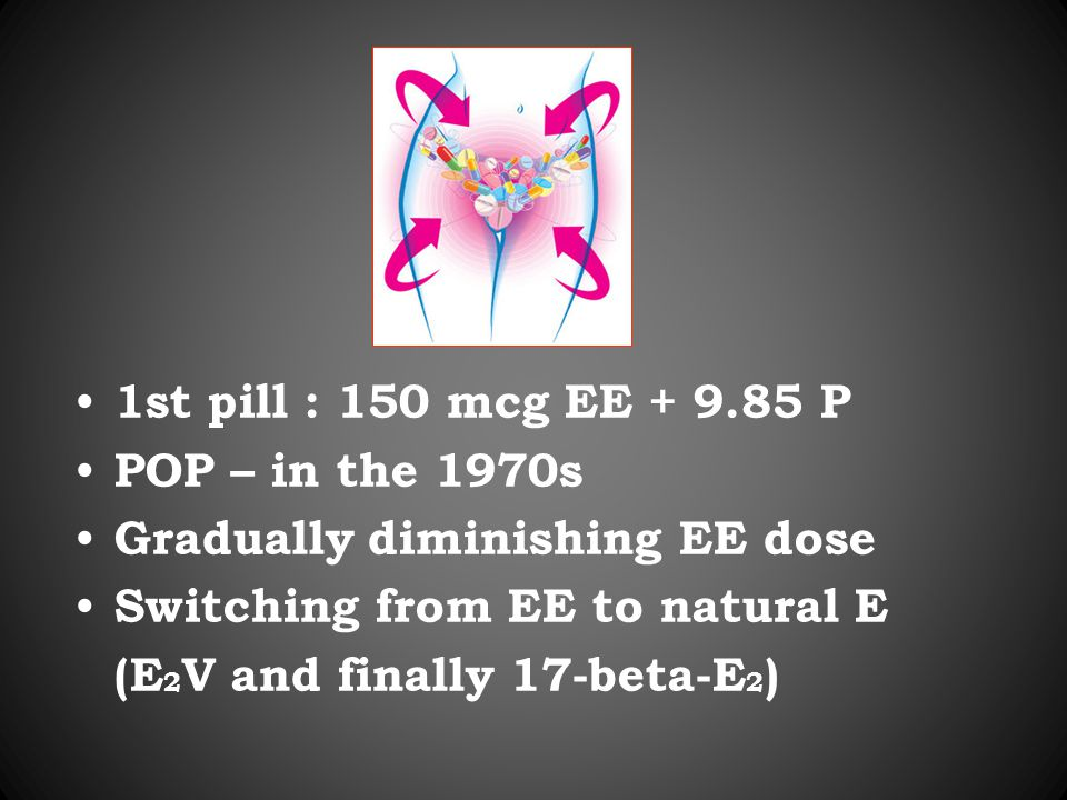 1st pill : 150 mcg EE + 9.85 P POP – in the 1970s Gradually diminishing EE dose Switching from EE to natural E (E 2 V and finally 17-beta-E 2 )