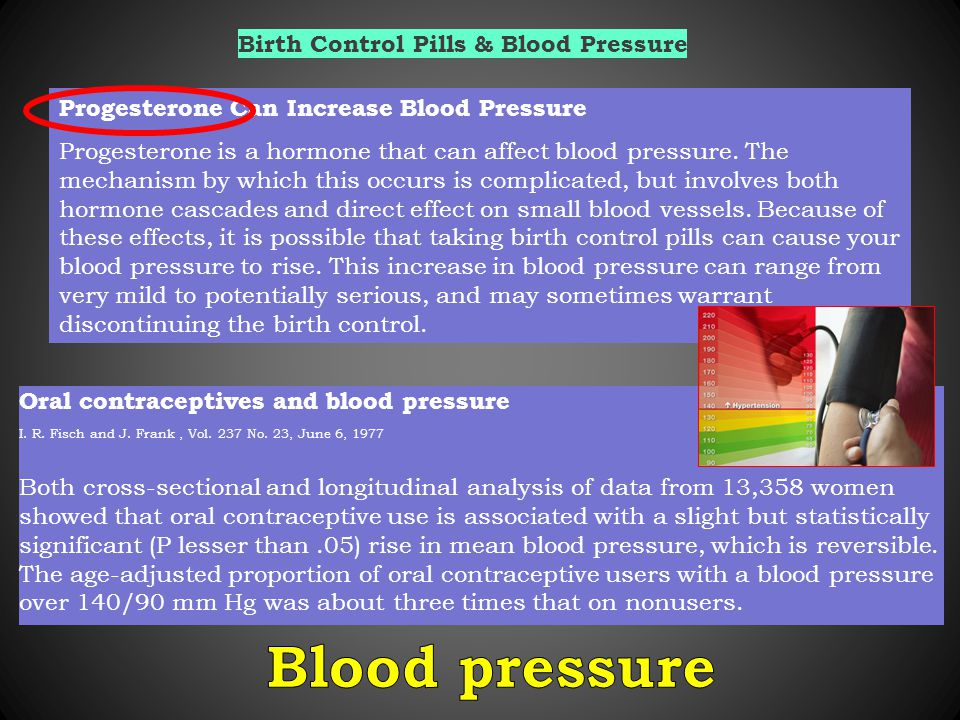 Birth Control Pills & Blood Pressure Progesterone Can Increase Blood Pressure Progesterone is a hormone that can affect blood pressure.