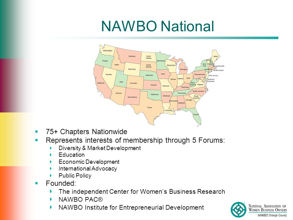 NAWBO National  75+ Chapters Nationwide  Represents interests of membership through 5 Forums:  Diversity & Market Development  Education  Economic Development  International Advocacy  Public Policy  Founded:  The independent Center for Women's Business Research  NAWBO PAC®  NAWBO Institute for Entrepreneurial Development