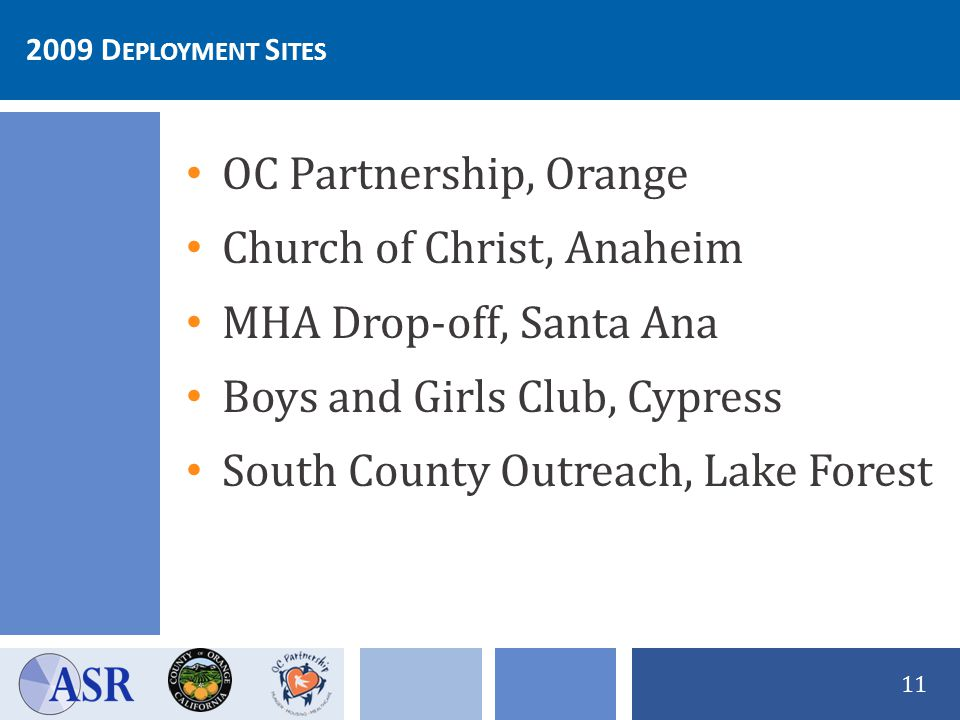 2009 D EPLOYMENT S ITES 11 OC Partnership, Orange Church of Christ, Anaheim MHA Drop-off, Santa Ana Boys and Girls Club, Cypress South County Outreach, Lake Forest