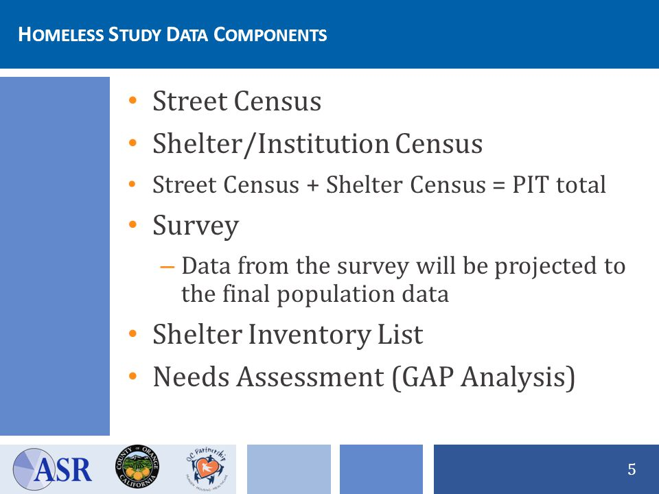 H OMELESS S TUDY D ATA C OMPONENTS 5 Street Census Shelter/Institution Census Street Census + Shelter Census = PIT total Survey – Data from the survey will be projected to the final population data Shelter Inventory List Needs Assessment (GAP Analysis)