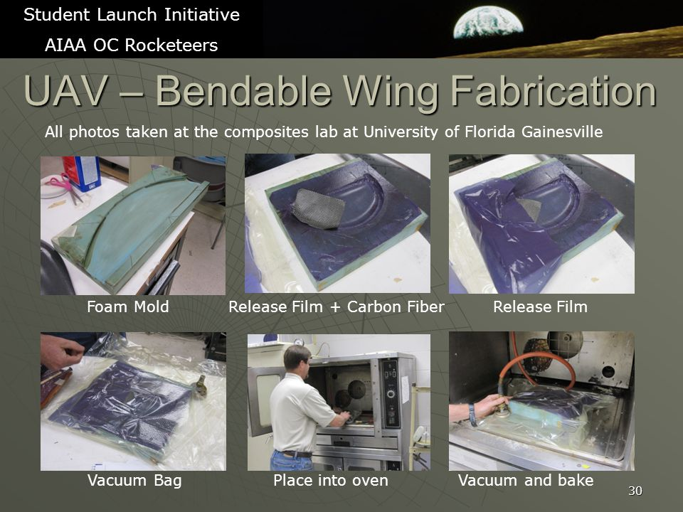 UAV – Bendable Wing Fabrication 30 Student Launch Initiative AIAA OC Rocketeers All photos taken at the composites lab at University of Florida Gainesville Foam Mold Release Film + Carbon Fiber Release Film Vacuum Bag Place into oven Vacuum and bake