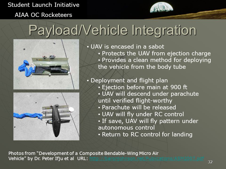 Payload/Vehicle Integration 32 Student Launch Initiative AIAA OC Rocketeers Photos from Development of a Composite Bendable-Wing Micro Air Vehicle by Dr.