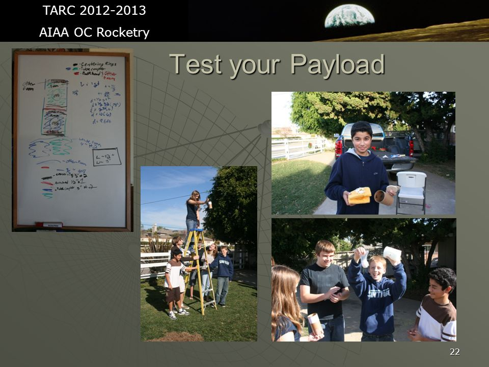 22 Test your Payload TARC 2012-2013 AIAA OC Rocketry