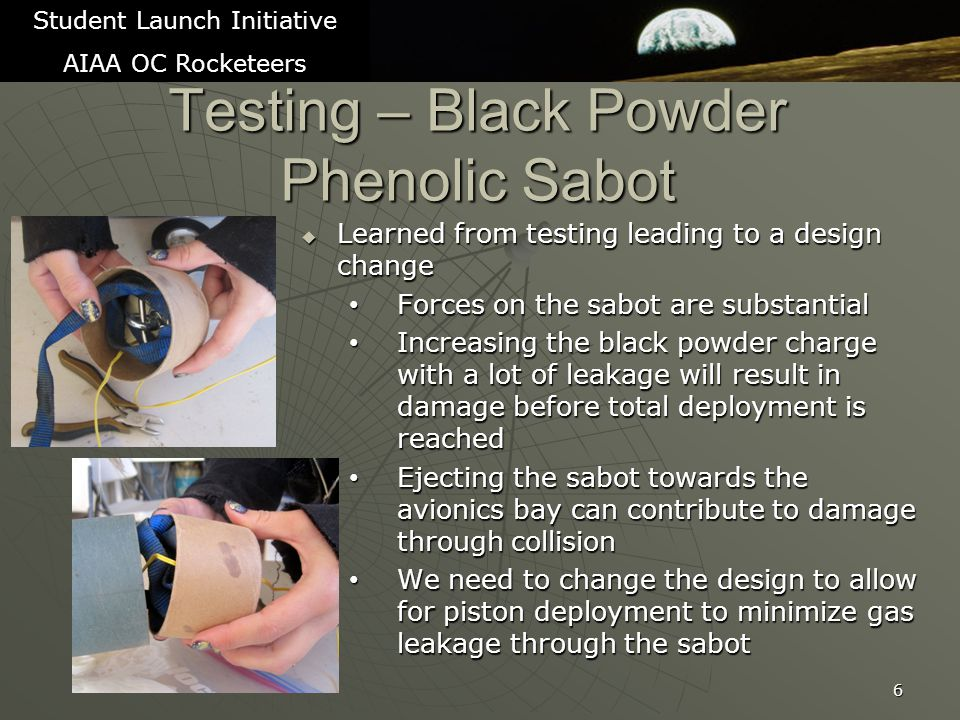 7 Student Launch Initiative AIAA OC Rocketeers Testing – Black Powder Piston pushing Phenolic Sabot TrialBlack PowderResult (Sabot is 18 long) 61.5 gramsFull ejection but with substantial damage