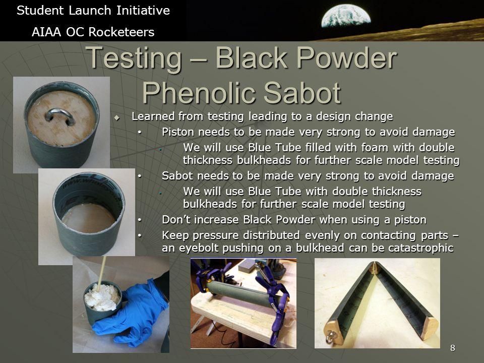 9 Student Launch Initiative AIAA OC Rocketeers Testing – Black Powder Piston pushing Bluetube Sabot TrialBlack PowderResult 71.1 gramsSuccessful (no parachute) – no damage 81.1 gramsNot successful (with parachute) 91.25 gramsSuccessful (with parachute)