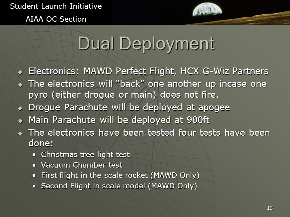Dual Deployment  Electronics: MAWD Perfect Flight, HCX G-Wiz Partners  The electronics will back one another up incase one pyro (either drogue or main) does not fire.