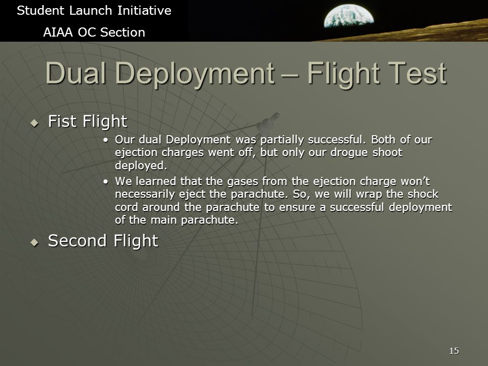 Dual Deployment – Flight Test  Fist Flight Our dual Deployment was partially successful.