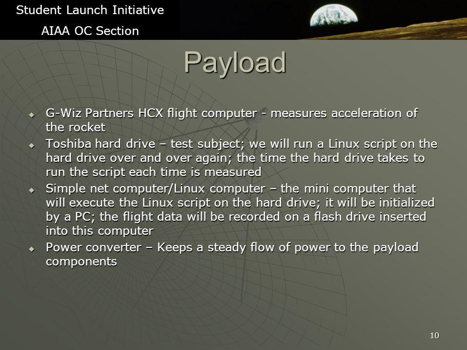 Payload  G-Wiz Partners HCX flight computer - measures acceleration of the rocket  Toshiba hard drive – test subject; we will run a Linux script on the hard drive over and over again; the time the hard drive takes to run the script each time is measured  Simple net computer/Linux computer – the mini computer that will execute the Linux script on the hard drive; it will be initialized by a PC; the flight data will be recorded on a flash drive inserted into this computer  Power converter – Keeps a steady flow of power to the payload components 10 Student Launch Initiative AIAA OC Section
