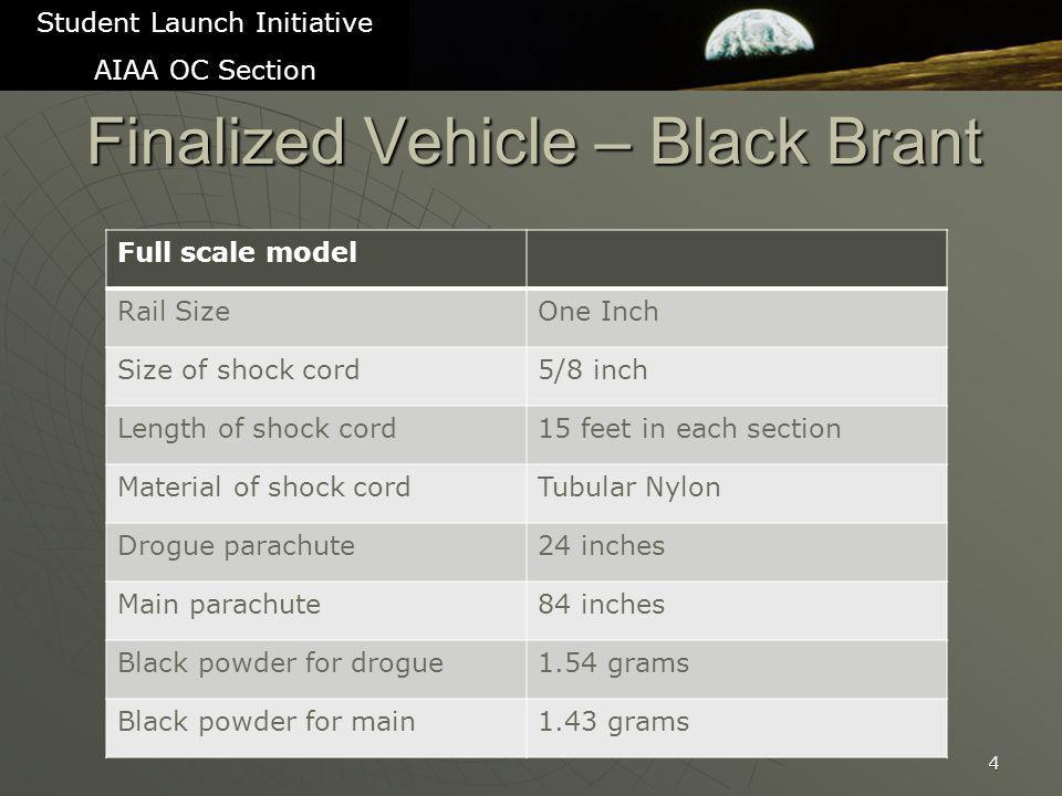 Finalized Vehicle – Black Brant 4 Student Launch Initiative AIAA OC Section Full scale model Rail SizeOne Inch Size of shock cord5/8 inch Length of shock cord15 feet in each section Material of shock cordTubular Nylon Drogue parachute24 inches Main parachute84 inches Black powder for drogue1.54 grams Black powder for main1.43 grams
