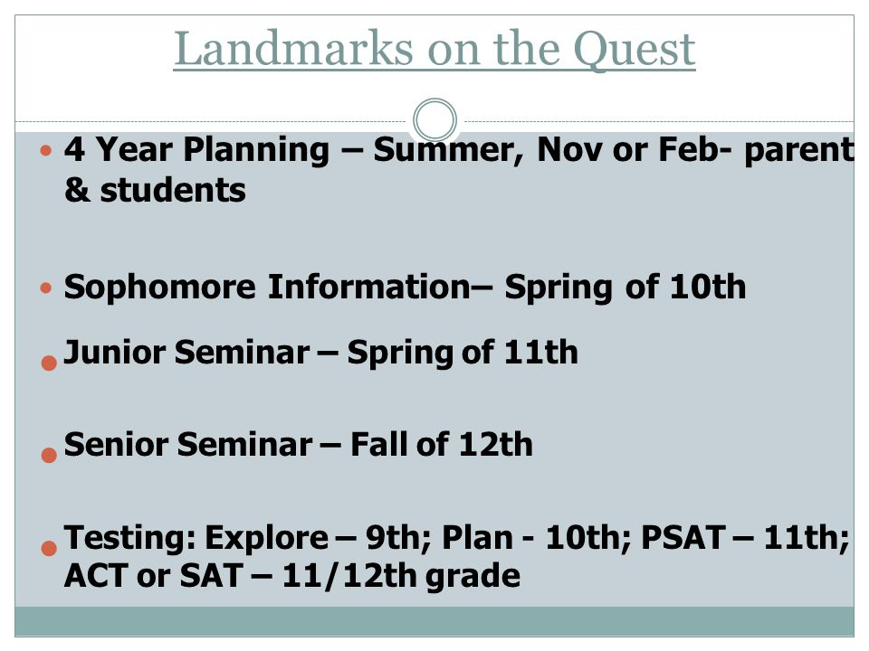 Landmarks on the Quest 4 Year Planning – Summer, Nov or Feb- parent & students Sophomore Information– Spring of 10th Junior Seminar – Spring of 11th S