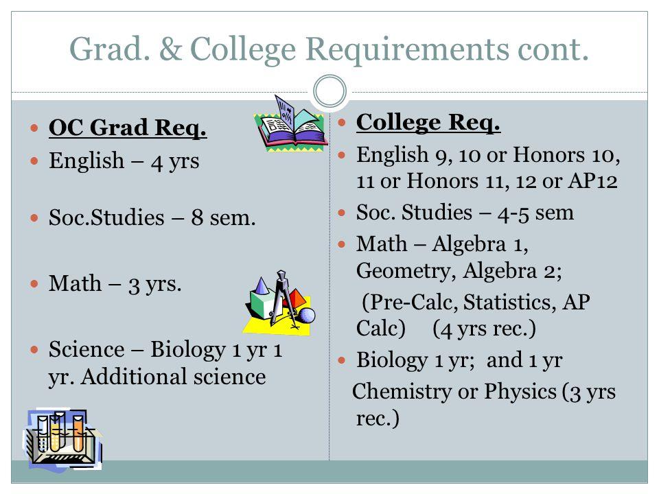 Grad. & College Requirements cont. OC Grad Req. English – 4 yrs Soc.Studies – 8 sem. Math – 3 yrs. Science – Biology 1 yr 1 yr. Additional science Col