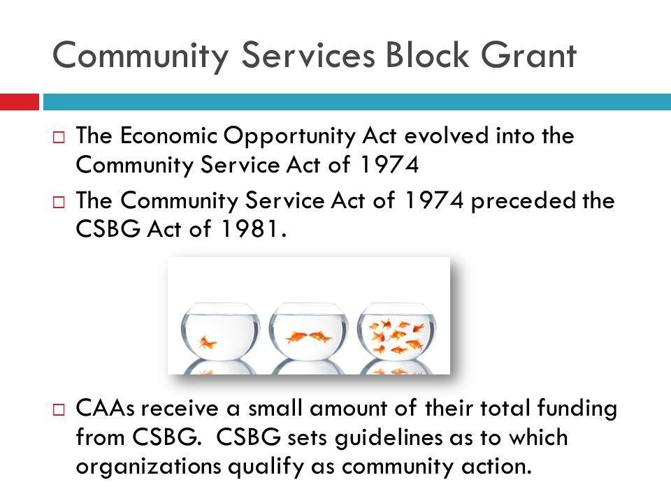 CSBG today…  CSBG provides assistance to states and local communities working through a network of community action agencies and other neighborhood- based organizations:  For the reduction of poverty  The revitalization of low-income communities  The empowerment of low-income families and individuals in rural and urban areas to become fully self-sufficient
