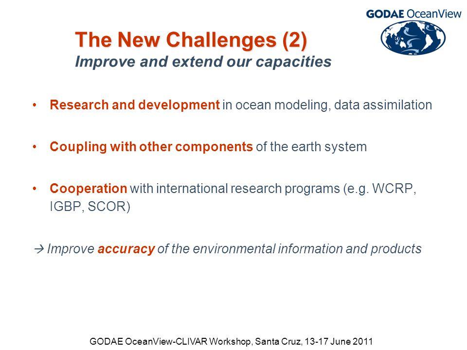 GODAE OceanView-CLIVAR Workshop, Santa Cruz, 13-17 June 2011 Current systems Future systems Global systems: Current model space 4000×2000×50 Near-term future model space >10000×5000×100 global eddy-res.
