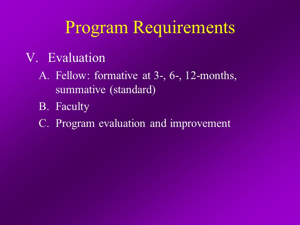 Program Requirements V.