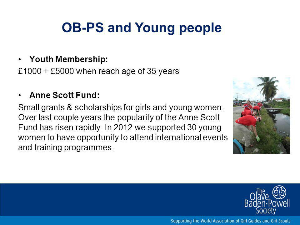 OB-PS and Young people Youth Membership: £1000 + £5000 when reach age of 35 years Anne Scott Fund: Small grants & scholarships for girls and young women.