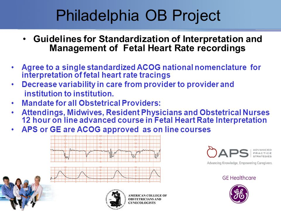 Philadelphia OB Project Guidelines for Standardization of Interpretation and Management of Fetal Heart Rate recordings Agree to a single standardized