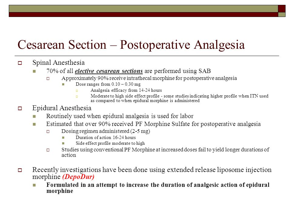 Cesarean Section – Postoperative Analgesia  Spinal Anesthesia 70% of all elective cesarean sections are performed using SAB  Approximately 90% recei