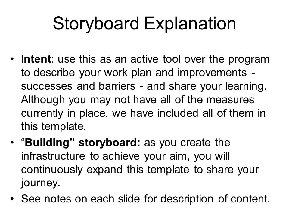Storyboard Explanation Intent: use this as an active tool over the program to describe your work plan and improvements - successes and barriers - and