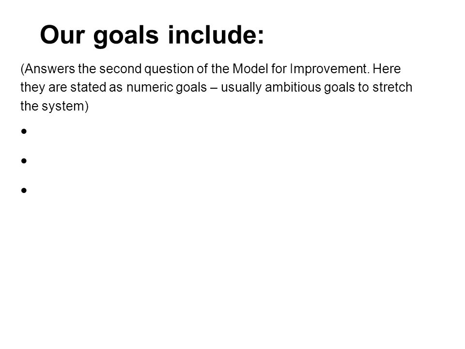 Our goals include: (Answers the second question of the Model for Improvement. Here they are stated as numeric goals – usually ambitious goals to stret