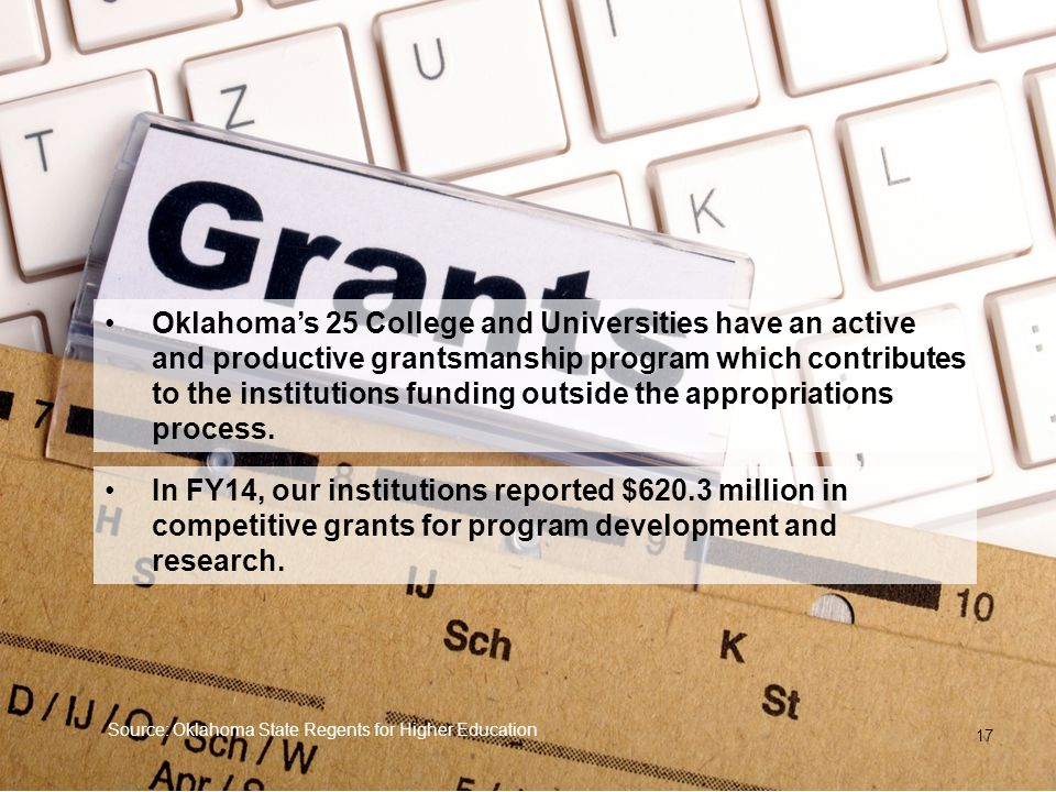 Oklahoma's 25 College and Universities have an active and productive grantsmanship program which contributes to the institutions funding outside the a
