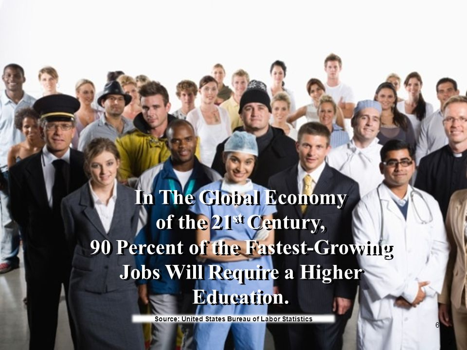 In The Global Economy of the 21 st Century, 90 Percent of the Fastest-Growing Jobs Will Require a Higher Education. In The Global Economy of the 21 st