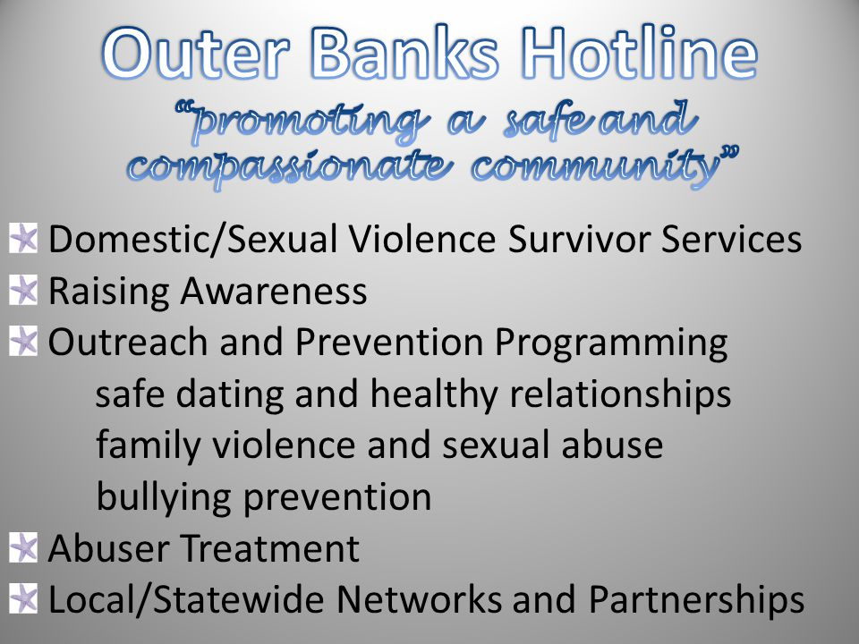 Domestic/Sexual Violence Survivor Services Raising Awareness Outreach and Prevention Programming safe dating and healthy relationships family violence and sexual abuse bullying prevention Abuser Treatment Local/Statewide Networks and Partnerships