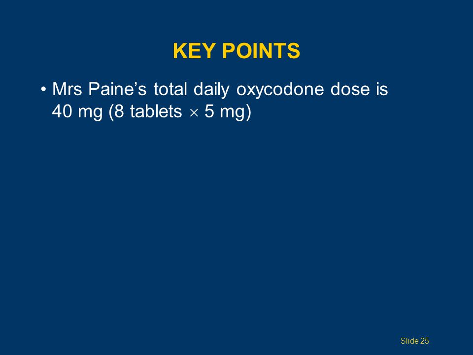 Mrs Paine's total daily oxycodone dose is 40 mg (8 tablets  5 mg) KEY POINTS Slide 25