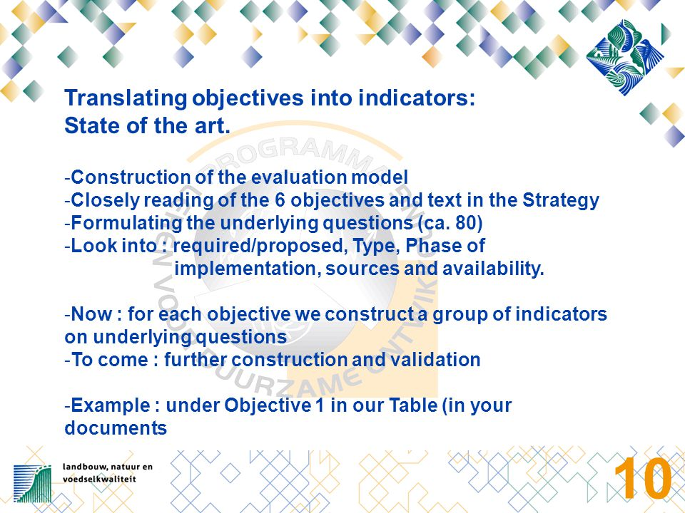 10 Translating objectives into indicators: State of the art.