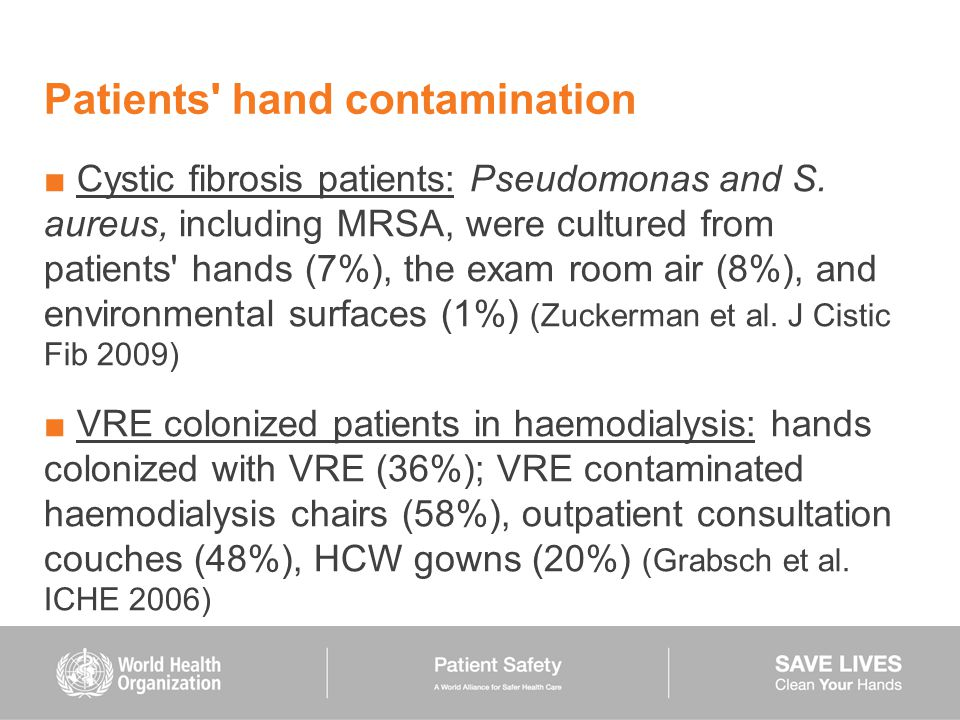 Patients' hand contamination ■ Cystic fibrosis patients: Pseudomonas and S. aureus, including MRSA, were cultured from patients' hands (7%), the exam
