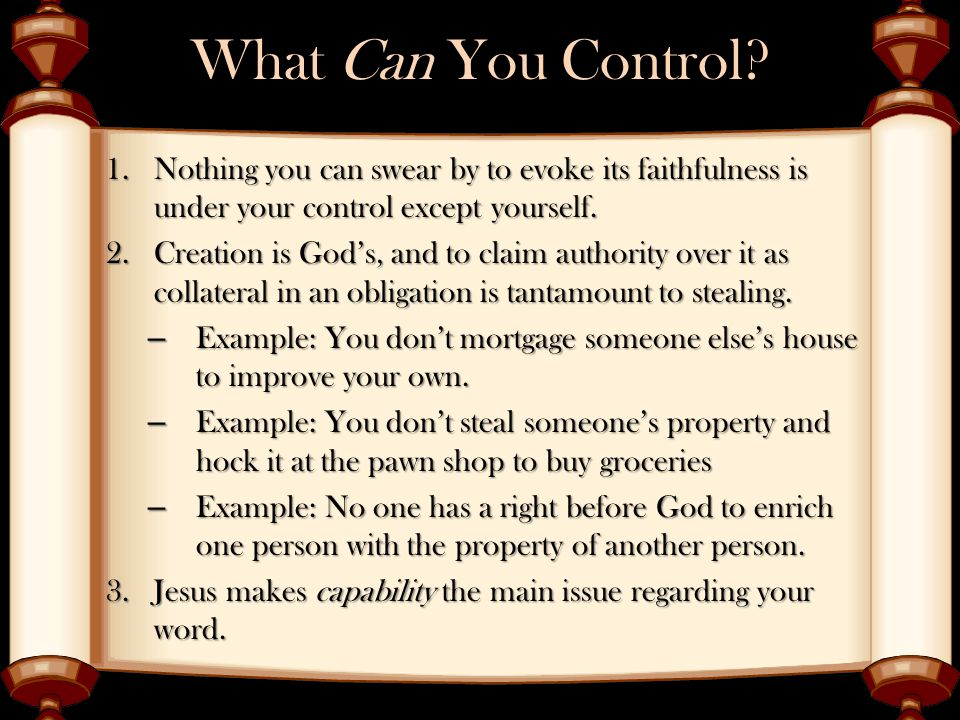 What Can You Control.