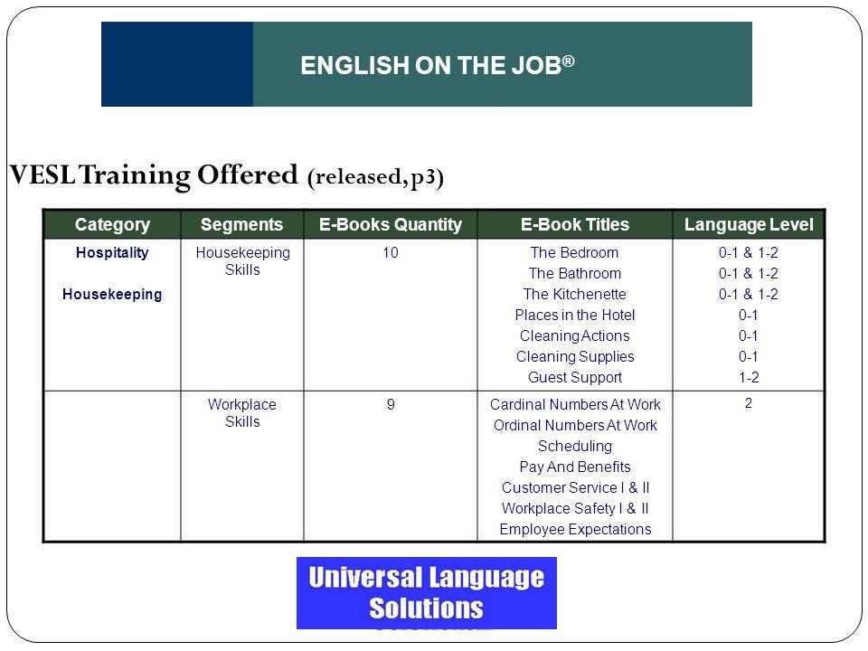 ENGLISH ON THE JOB ® CategorySegmentsE-Books QuantityE-Book TitlesLanguage Level Hospitality Housekeeping Housekeeping Skills 10The Bedroom The Bathro