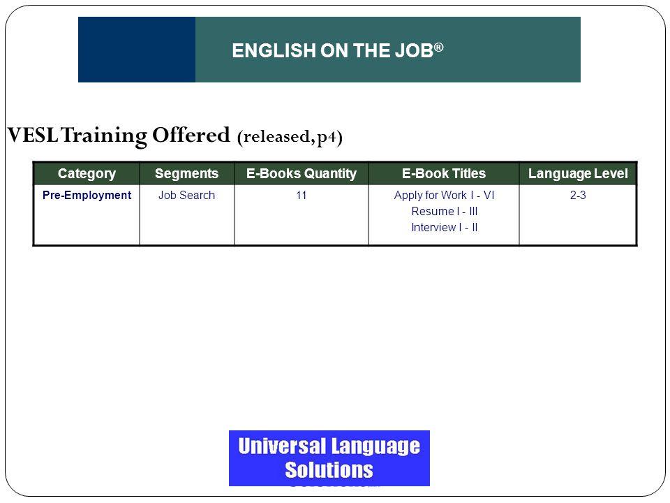 ENGLISH ON THE JOB ® CategorySegmentsE-Books QuantityE-Book TitlesLanguage Level Pre-EmploymentJob Search11Apply for Work I - VI Resume I - III Interv