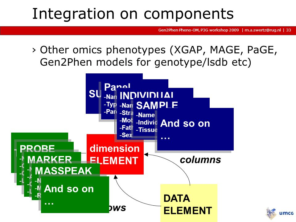 | m.a.swertz@rug.nl Gen2Phen Pheno-OM, P3G workshop 2009 2009 2009 | Integration on components ›Other omics phenotypes (XGAP, MAGE, PaGE, Gen2Phen models for genotype/lsdb etc) 33 DATA ELEMENT TRAIT SUBJECT columns rows dimension ELEMENT PROBE -Name -Gene -Chromosme -Locus PROBE -Name -Gene -Chromosme -Locus MARKER -Name -Allele -Chromosme -Locus MARKER -Name -Allele -Chromosme -Locus MASSPEAK -Name -MZ -RetentionTime MASSPEAK -Name -MZ -RetentionTime Panel -Name -Type: CSS, RIL..
