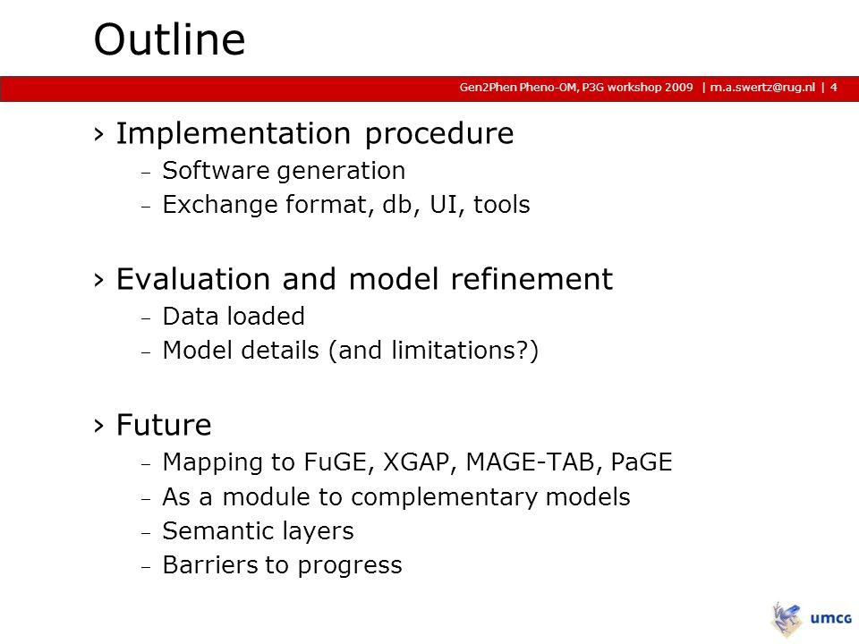 | m.a.swertz@rug.nl METABASE and PSI, P3G workshop 2009 2009 2009 | Implementation procedure Incremental steps using MOLGENIS toolbox.