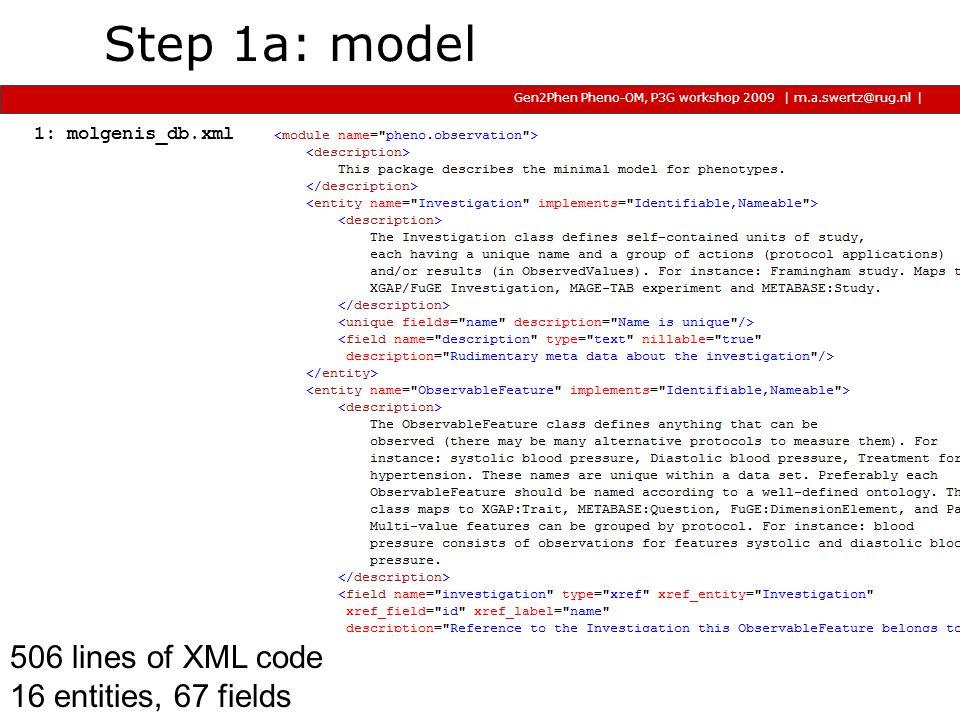 | m.a.swertz@rug.nl Gen2Phen Pheno-OM, P3G workshop 2009 2009 2009 | Generates 150 files, 30k lines of Java, SQL and R code + docs (tomcat/mysql; hsqldb, psql, jpa/hibernate, jetty in alpha ) 0 INFO [myFactory] working dir: D:\Development\Molgenis33Workspace\molgenis4phenotype 78 INFO [myFactory] MOLGENIS version 3.3.0-testing 94 INFO [myFactory] Using options: model_database = [pheno_db.xml] #File with data structure specification (in MOLGENIS DSL).