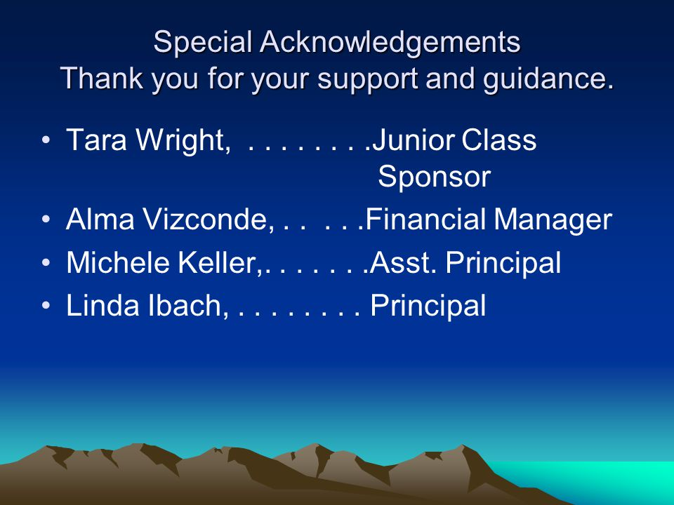 Special Acknowledgements Thank you for your support and guidance.
